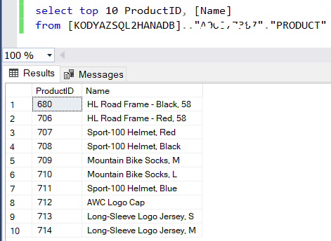 SQL query fro SQL Server to SAP HANA Database table