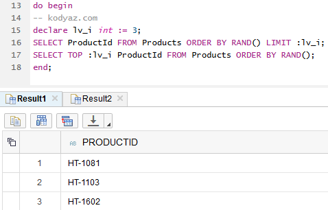 select random rows in SAP HANA database using SQLScript