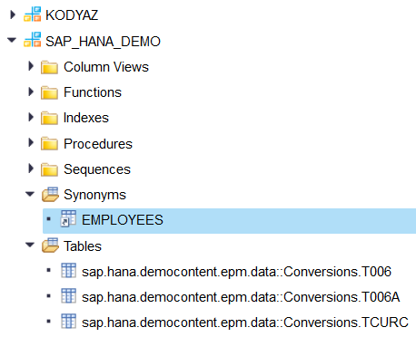 SAP HANA database synonyms for sql objects