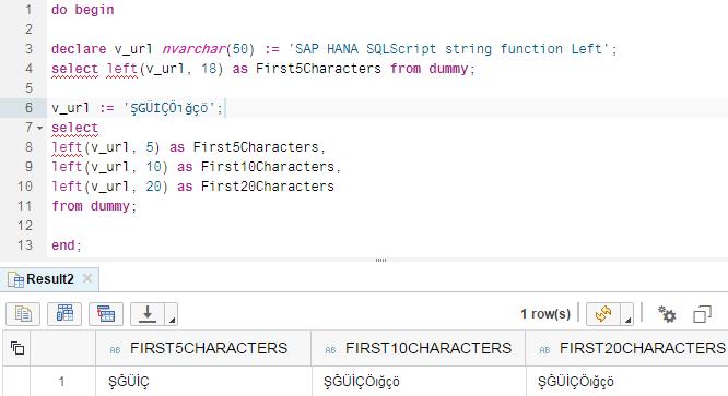 SQLScript String function Left