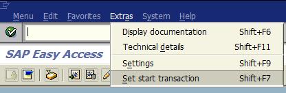 set start transaction for SAP user