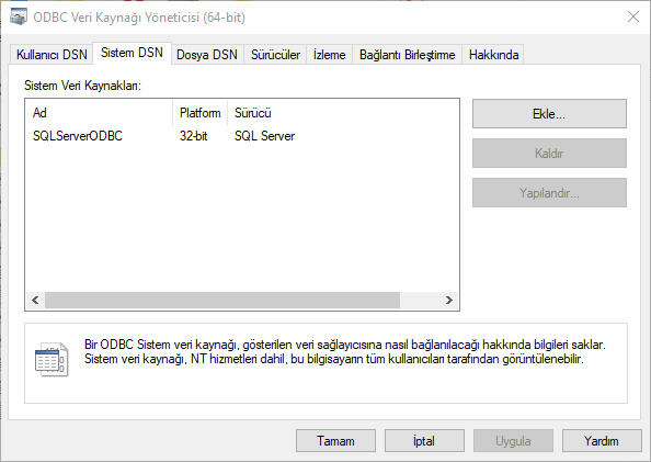 System DSN tab on ODBC Data Sources Administrator