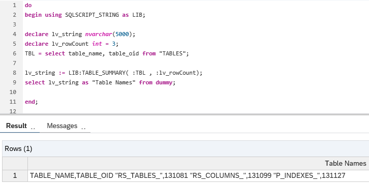 SQLScript String function Table_Summary on SAP HANA database