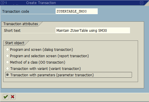 new SAP transaction start object selection