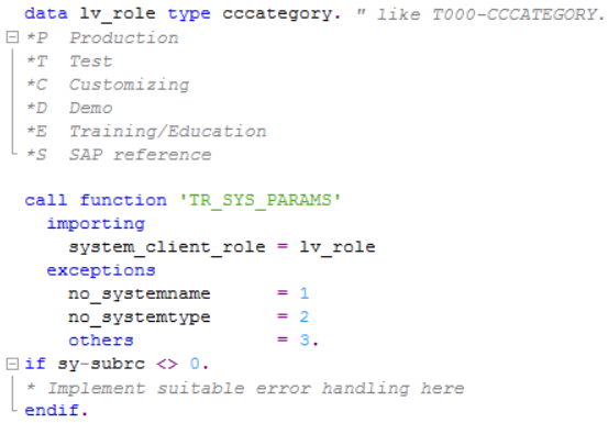 ABAP function module TR_SYS_PARAMS