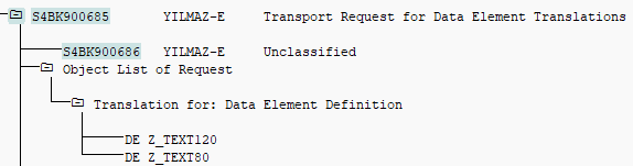 translations for data element in transport request