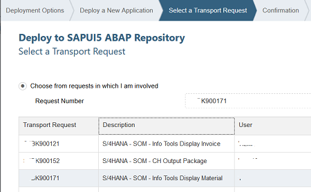 select transport request for SAPUI5 ABAP repository
