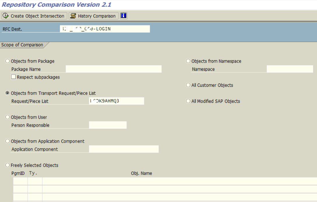 ABAP Repository Comparison tool for transport requests