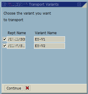 select variants of ABAP reports into transport request