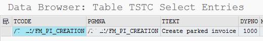 TSTC table storing SAP Transaction Codes data