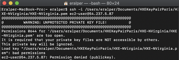 unprotected private key file. permission denied publickey