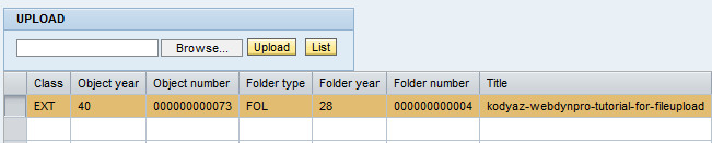 upload file on Web Dynpro and list attachments on table