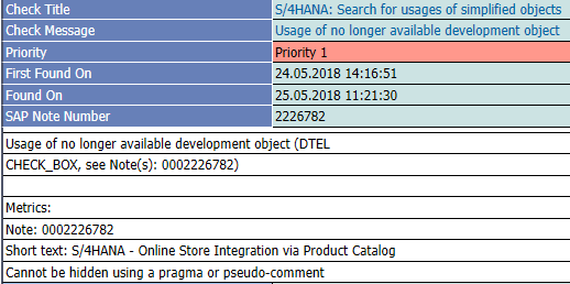 usage of no longer available development object check_box