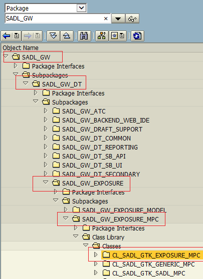 ABAP package hierarchy for SADL_GW_EXPOSURE_MPC