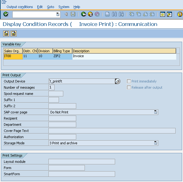 Change Output Condition Records