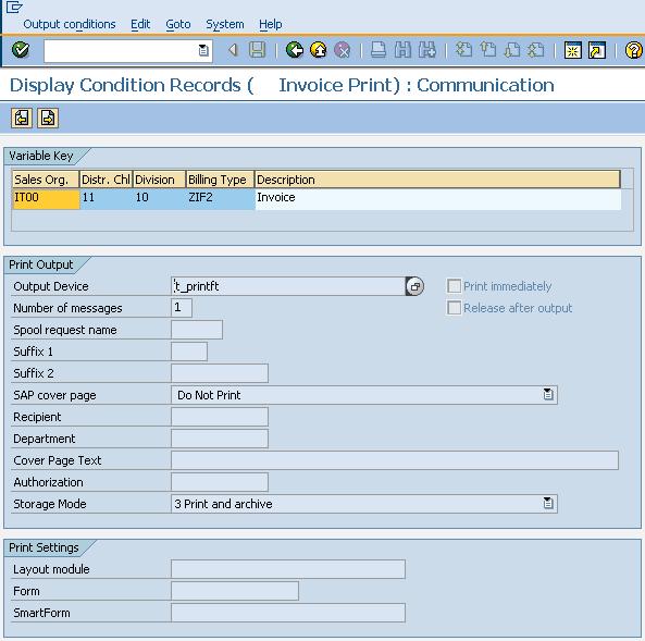 Output communication details view