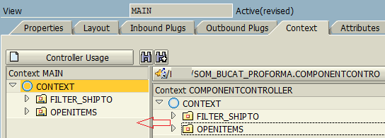 drag drop Component Controller context to Main View context