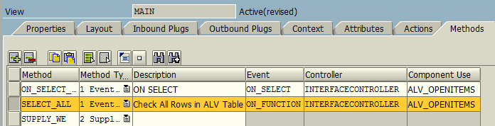 Web Dynpro View methods for ALV table button function
