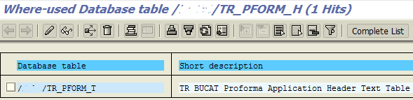 Where Used database table
