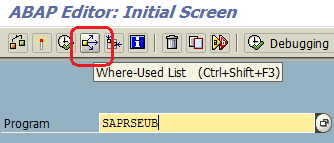 search ABAP object using where used list in SAP