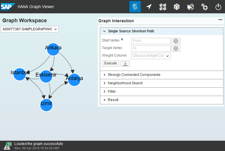 sample Graph WorkSpace data on SAP HANA Graph Viewer visualization tool