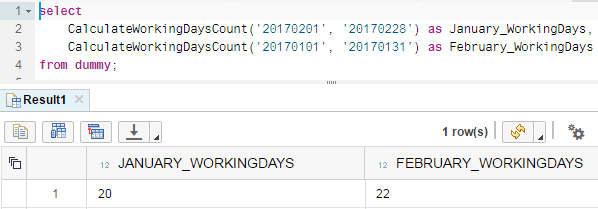 calculate work days using SQLScript in SAP HANA database