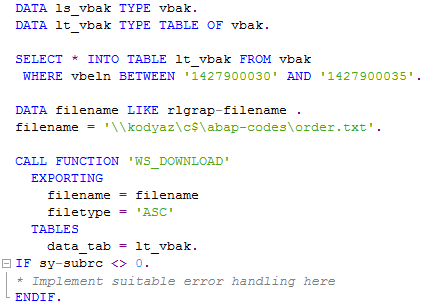 write data in tex file using ABAP function module WS_DOWNLOAD