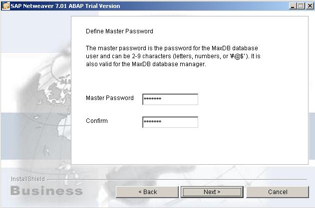 define master password for SAP MaxDB database