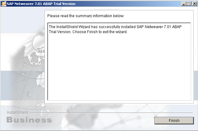 SAP Netweaver installation completed by Installshield Wizard