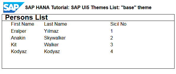 SAP UI5 theme base
