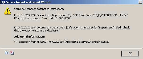 ssis-package-error-could-not-connect-destination-component