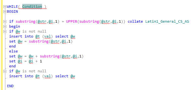 sql code snippet for while loop in SQL Server 2012