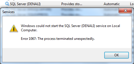 Windows could not start the SQL Server Denali service