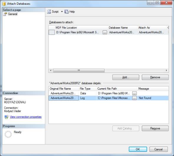 attach database mdf file SQL Server 2012