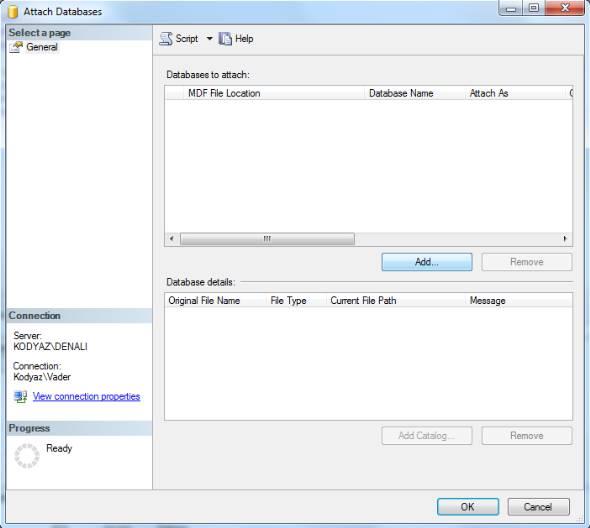 attach database in SQL Server 2012