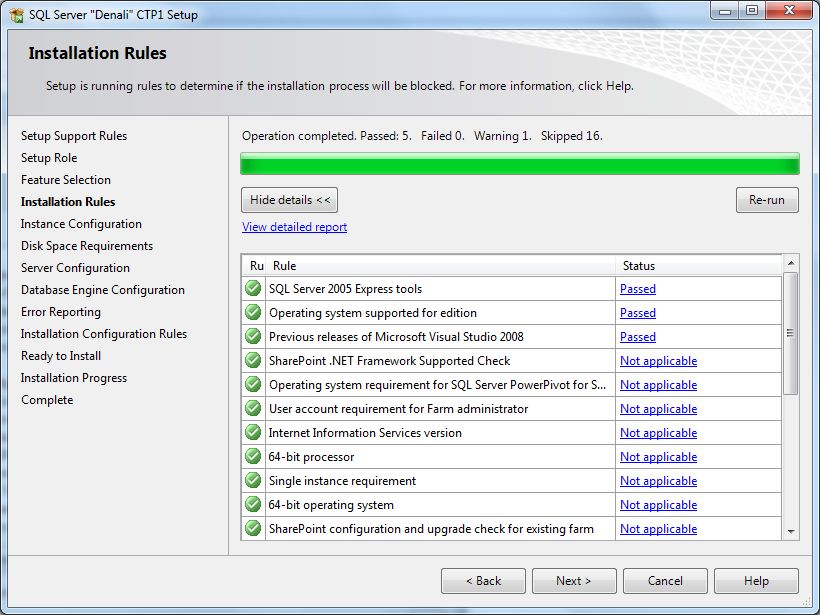 installation rules after SQL Server 2012 features selection