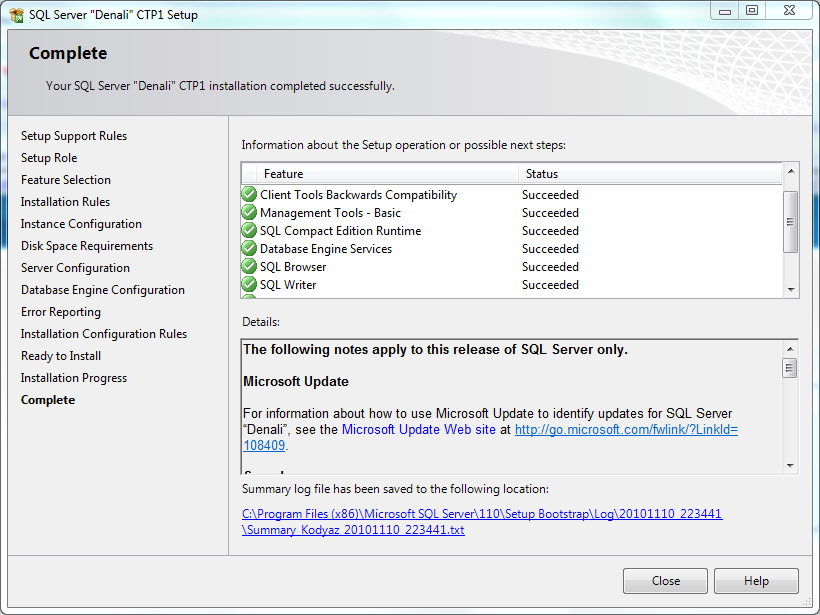 Microsoft SQL Server 2012 installation completed successfully