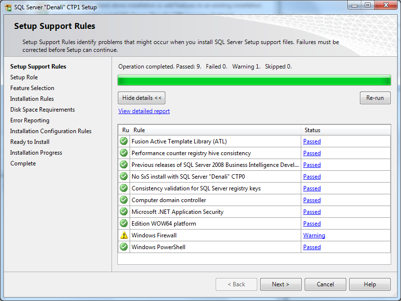 Microsoft SQL Server 2012 setup support rules