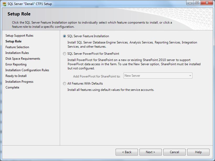 MS SQL Server 2012 setup roles