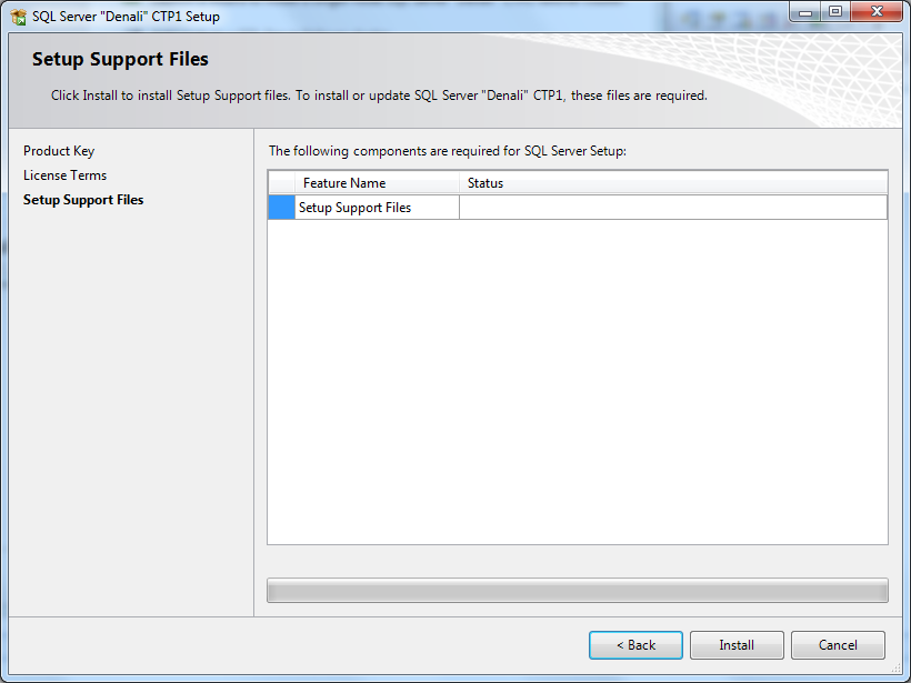 setup support files for SQL Server 2012