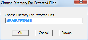 SQL Server 2012 setup choose directory for extracted files