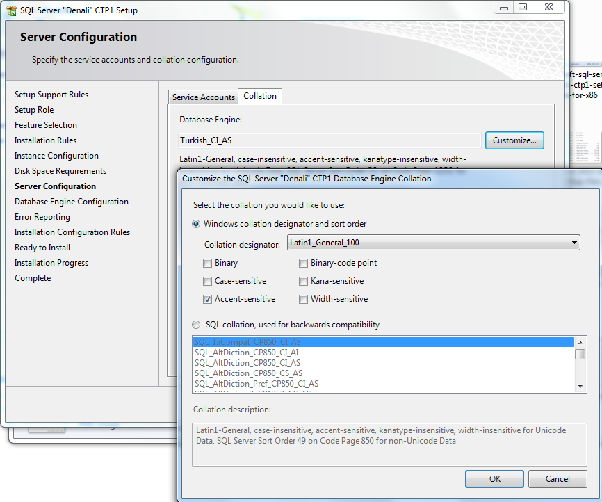SQL Server 2012 collation settings