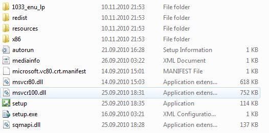 SQL Server 2012 setup files