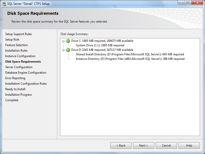 SQL Server 2012 disk space requirements