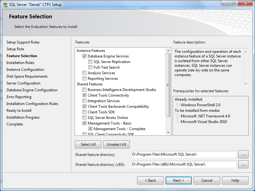 SQL Server 2012 features selection for Denali CTP1 setup