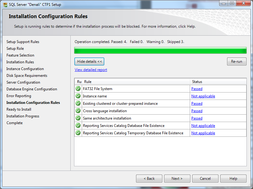SQL Server Denali installation configuration rules