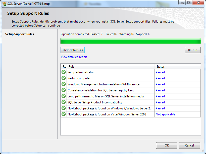 SQL Server 2012 setup for Denali CTP1
