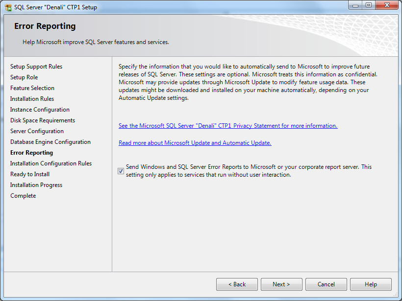 SQL Server setup error reporting
