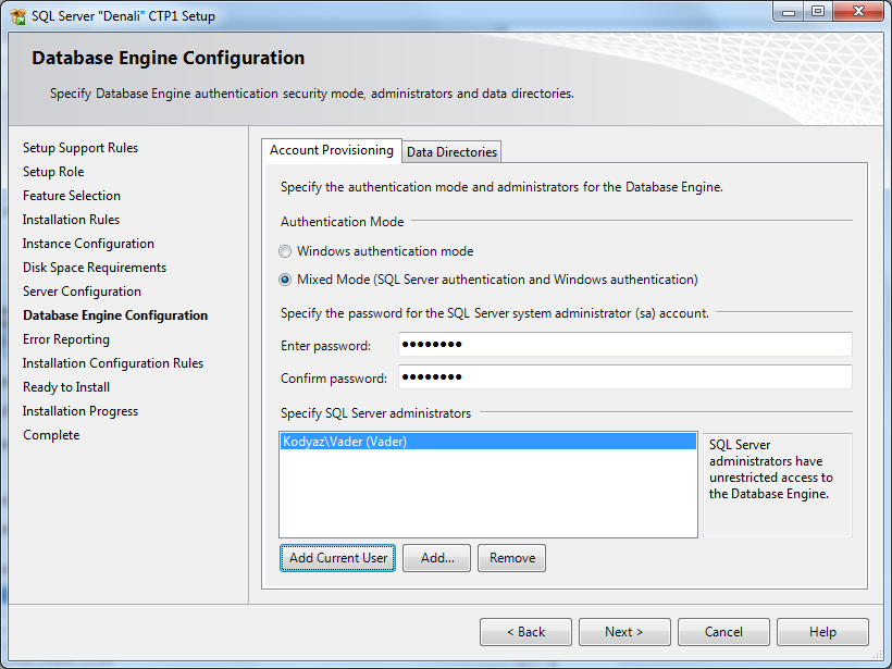 SQL Server 2012 account-provisioning
