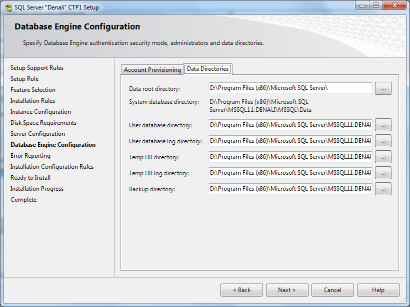 SQLServer2012 database-engine-configuration